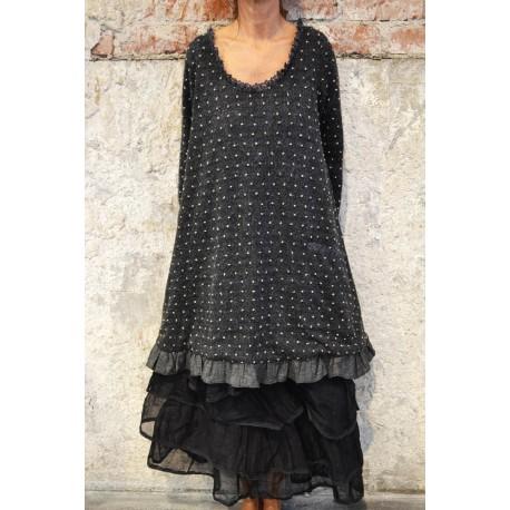 robe-tunique LEANNE laine noir à pois blanc