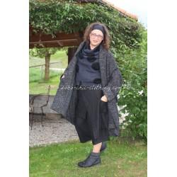 Manteau YUKI en tweed noir chiné