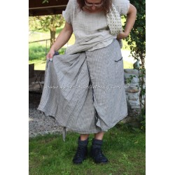 skirt AGLAE in gingham linen