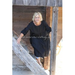 dress ROMANCE in black linen