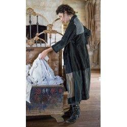 manteau Helena Josephina in Black Pinstripe