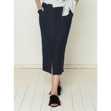 skirt ancolie in navy blue linen boho chic clothing