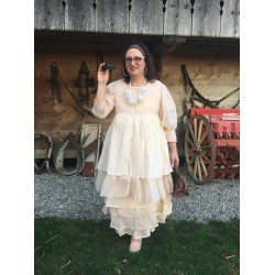 robe THERESE organza et coton rayé rose