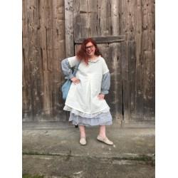 robe / tablier YVETTE coton pois bleu