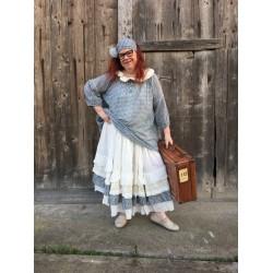 dress / skirt ZOUZOU ecru striped & gingham cotton