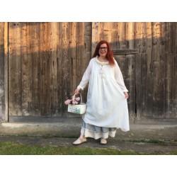 robe GERALDINE coton rayé écru