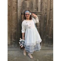 dress MYRIAM ecru striped cotton