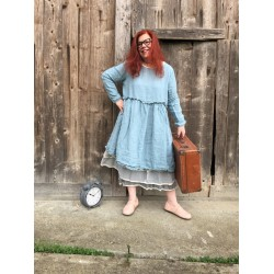 dress SANDRA blue linen