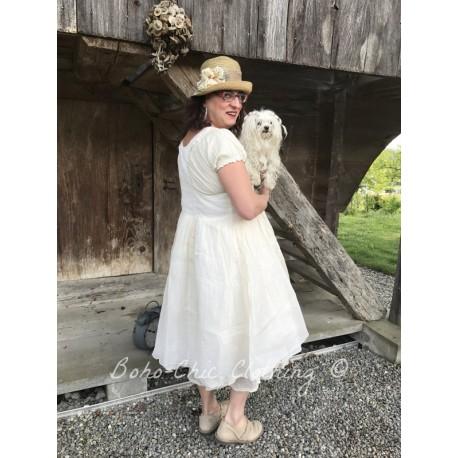 robe JACQUELINE organza et coton rayé écru
