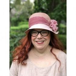 chapeau CELINA en chanvre et lin rose