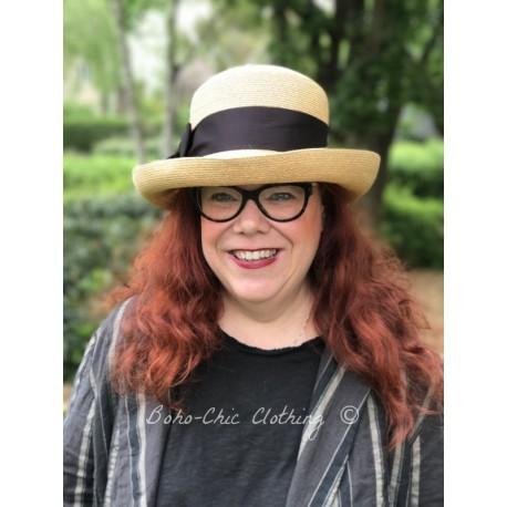 chapeau SOFIA en chanvre paille et ruban noir