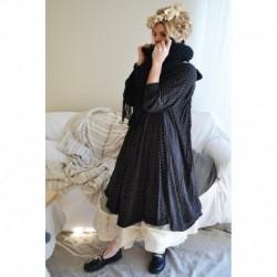 robe PAULA coton noir à pois blanc