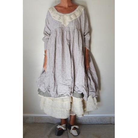 robe LAURETTE coton lilas à pois marron