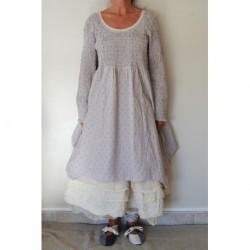 robe CAMILLE coton lilas à pois marron