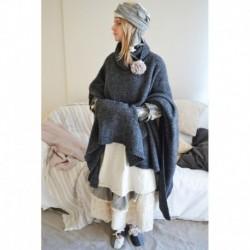 poncho MARISOL laine gris