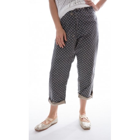 pantalon Devereux gris à pois blancs