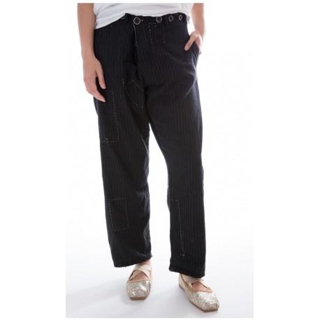pantalon Devereux rayé noir