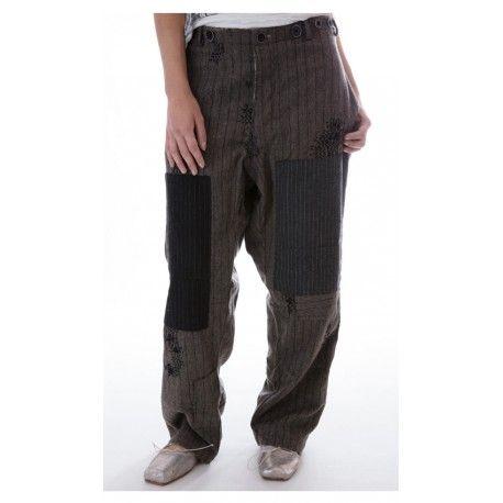 pantalon Devereux rayé gris