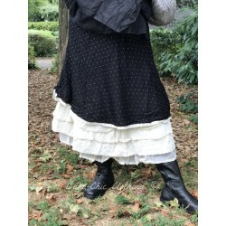 skirt / petticoat GISLAINE in black viscose with white dots and organza