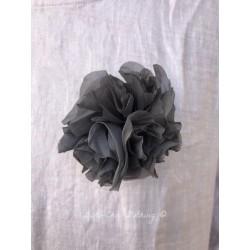 brooch FLEUR in grey organza