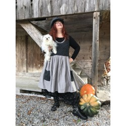 dress PERRINE in charcoal grey doudou and grey cotton poplin