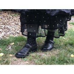 chaussettes AMELIE noirs à pois blanc