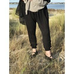 legging sarouel FANFAN viscose noir à pois blanc