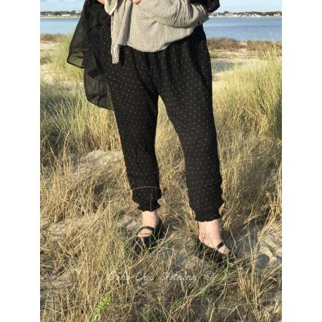 legging sarouel FANFAN coton noir à pois blanc