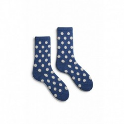 chaussettes classic dot laine + cachemire bleu denim