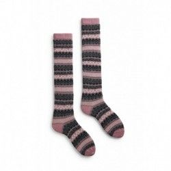 chaussettes fair isle knee high laine + cachemire mauve