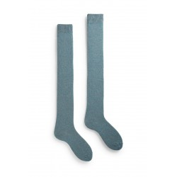 chaussettes solid over-the-knee laine + cachemire bleu mineral