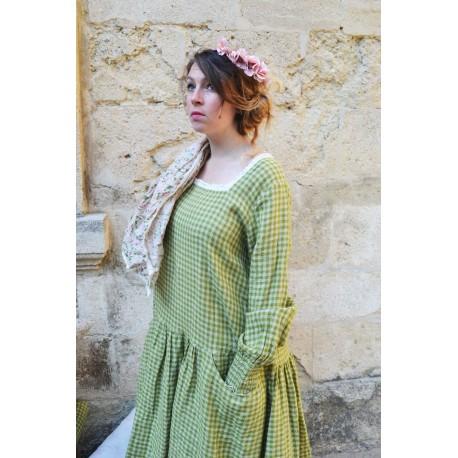 robe ONDINE lin vichy vert