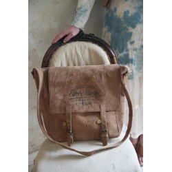 grand sac bandoulière imprimé «Chapellerie Paret-Marchel» en cuir de chèvre recyclé