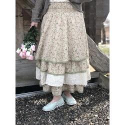 jupe / jupon JENNIFER coton fleurs rose et verte