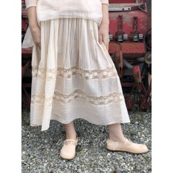 skirt / petticoat VICTOIRE ecru striped cotton