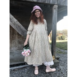 dress AGATHE pink and green flowers cotton