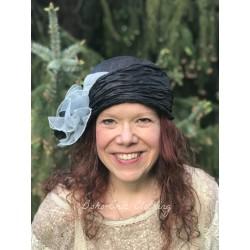 chapeau MARINELLA en chanvre noir et gris