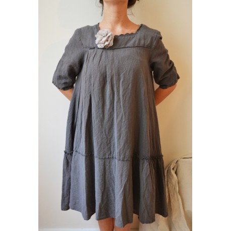 Dress/tunic SALOMÉE plain grey linen