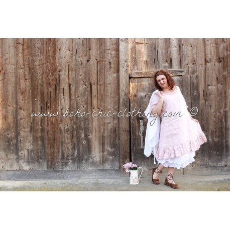 Robe mirande lin uni rose 39 les ours 39 2016 chez boho chic clothing ebay for Couleur lin clothing