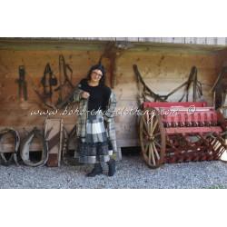jupe LEA drap de laine grands carreaux et organza à pois