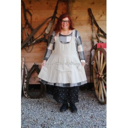 dress-apron CATHERINE in off white linen