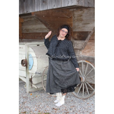 skirt AGLAE in black linen