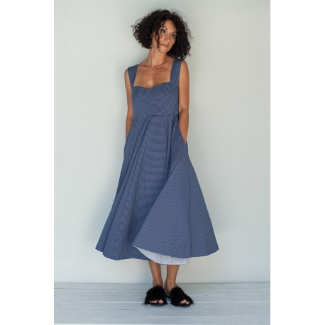 robe IRIS en coton à carreaux bleu marine