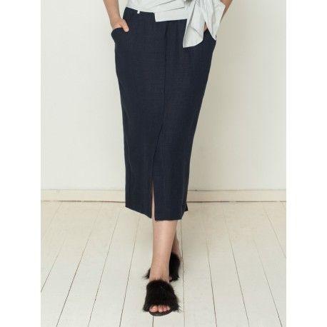 skirt ANCOLIE in navy blue linen