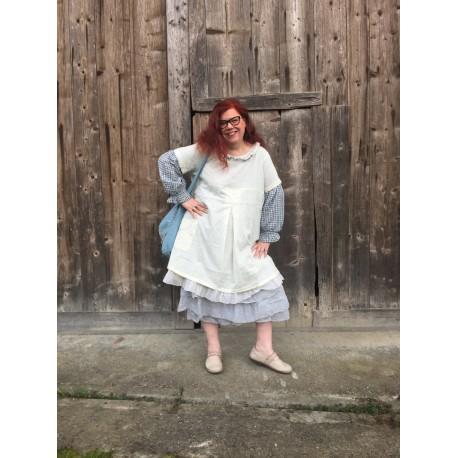 dress / apron YVETTE blue dotted cotton