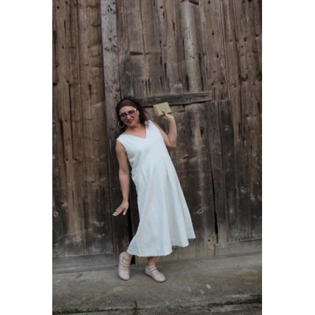 dress GARANCE in ecru cotton and elastane