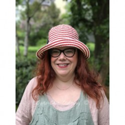 hat CARLA red striped