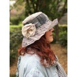 chapeau LAURA en lin bleu
