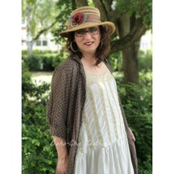 hat BIANCA in straw with gold & black striped ribbon and flowers