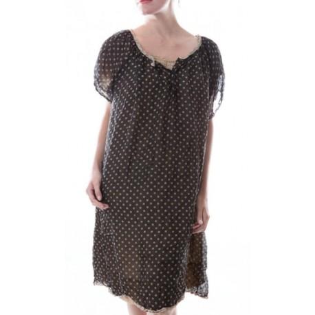 robe Georgette Vita noire à pois blancs